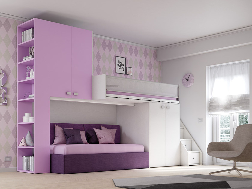 Loft fitted wooden bedroom set for girls KS 203 | Bedroom set - Moretti Compact