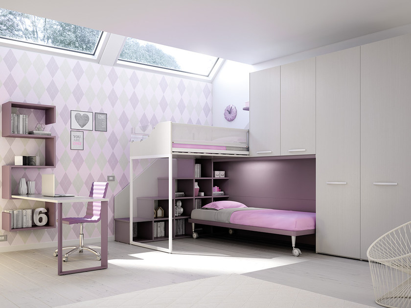 Loft fitted wooden bedroom set for girls KS 207 | Bedroom set - Moretti Compact
