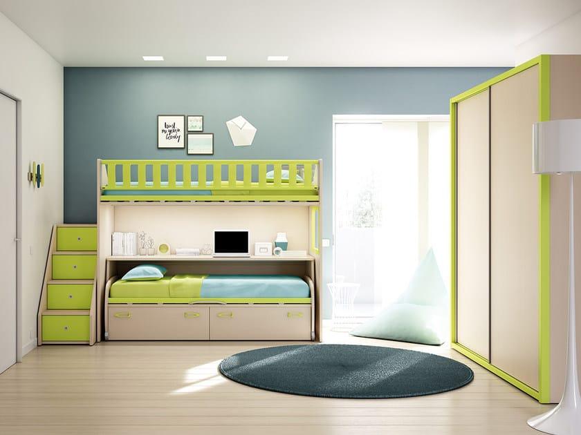 Loft fitted teenage bedroom KS 208 | Bedroom set - Moretti Compact