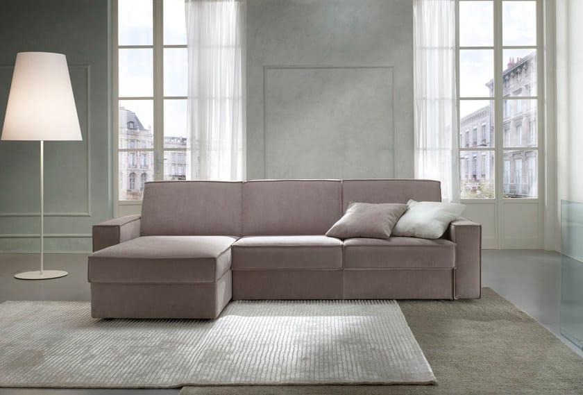 Fabric sofa bed with chaise longue KURT - Felis
