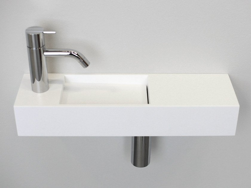 Rectangular wall-mounted HI-MACS® handrinse basin KUUB LIGHT - Not Only White