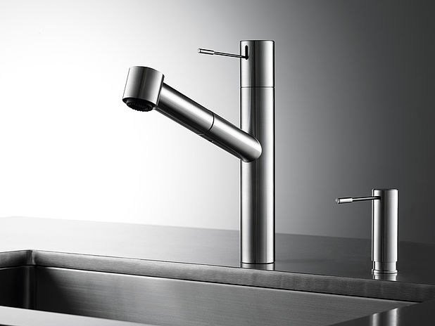 Countertop stainless steel kitchen mixer tap with pull out spray KWC ONO | Kitchen mixer tap by KWC
