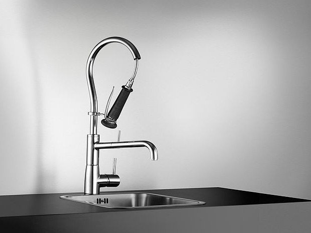 Countertop stainless steel kitchen mixer tap with spray KWC SYSTEMA | Kitchen mixer tap with spray by KWC
