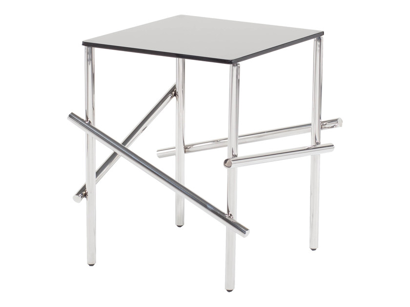 Square Glass and Stainless Steel side table KYTA - AZEA