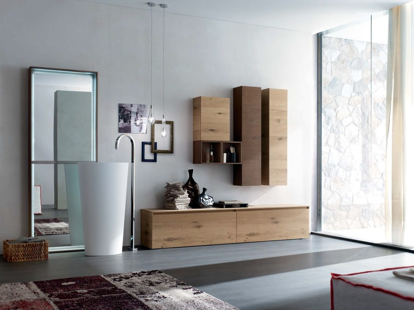 Sectional oak bathroom cabinet LA FENICE - COMPOSITION 11 by Arcom
