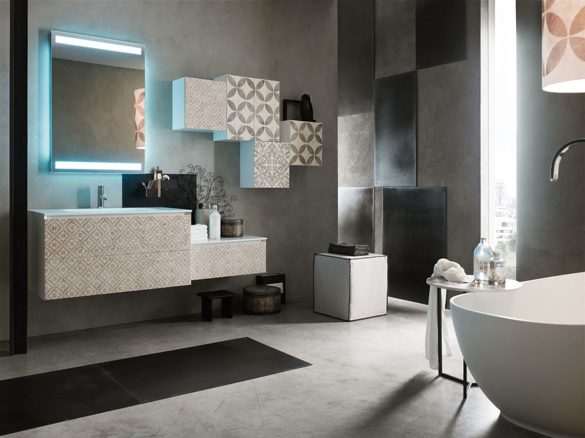 Sistema bagno componibile la fenice decor composizione - Arcom mobili bagno ...