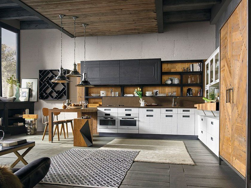 Fitted wood kitchen LAB 40 - COMPOSITION 01 - Marchi Cucine