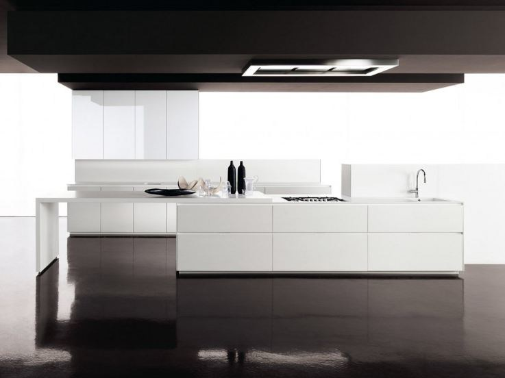 Lacquered fitted kitchen without handles GLASS | Lacquered kitchen - Zampieri Cucine