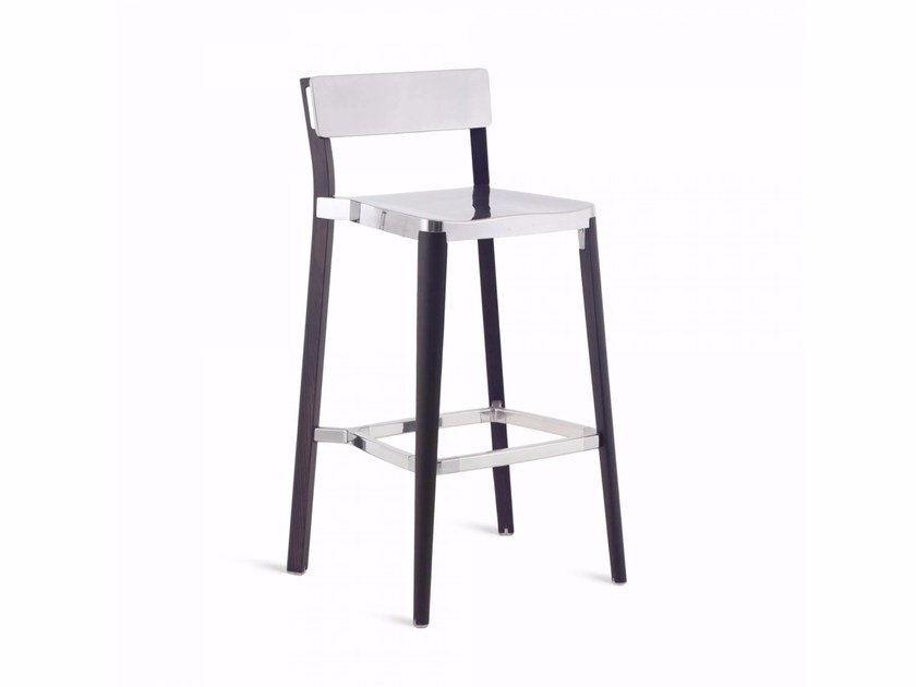 High aluminium and wood barstool LANCASTER | High stool - Emeco