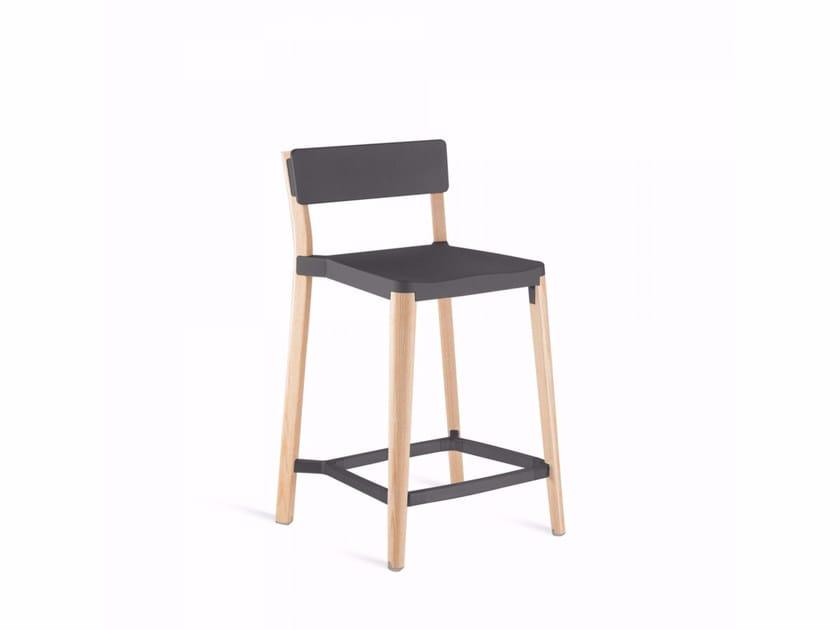 Sgabello alto in alluminio e legno LANCASTER | Sgabello - Emeco