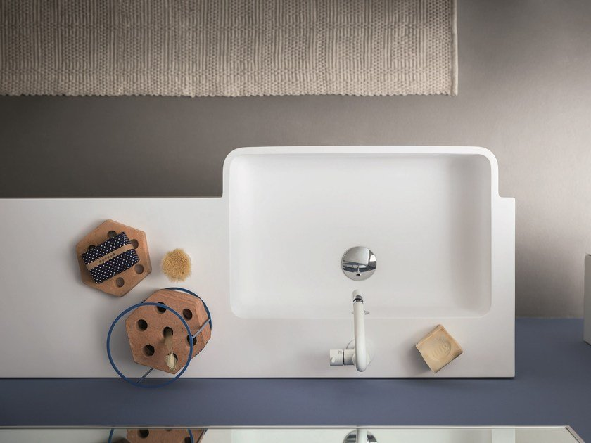 Rectangular Mineralmarmo® washbasin with integrated countertop LAPIS | Washbasin with integrated countertop - Birex