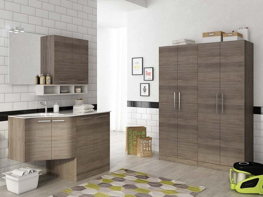 Laundry room cabinet with hinged doors with sink LAUNDRY 11 - LEGNOBAGNO