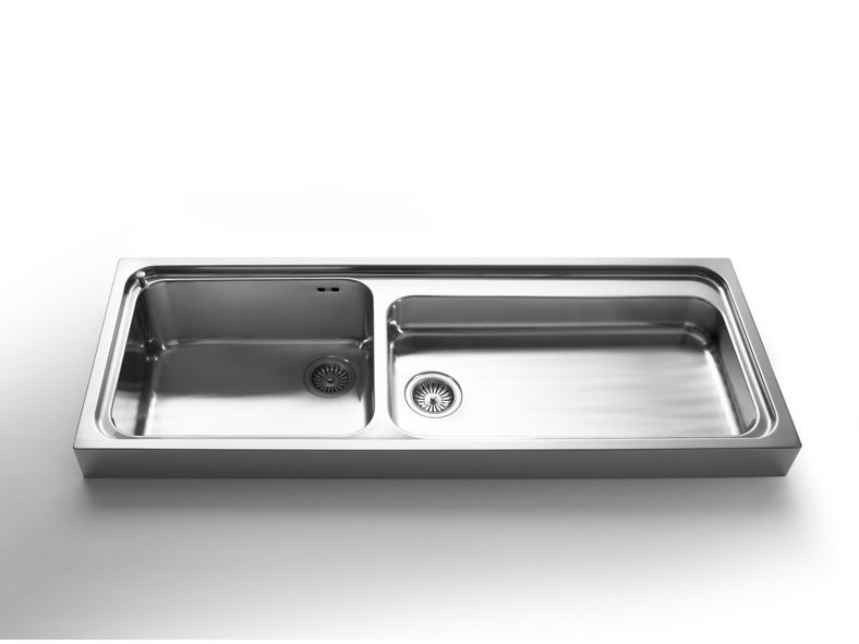 Lavello a 2 vasche appoggio in acciaio inox in stile - Lavelli cucina da appoggio ...
