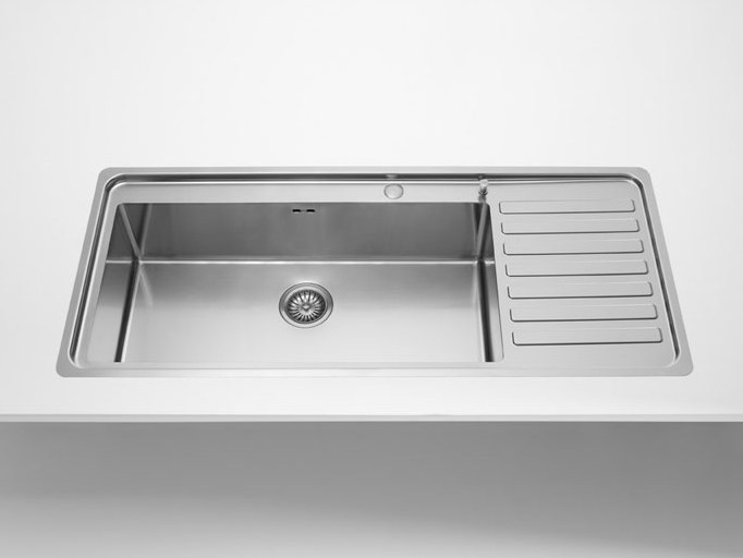 Contemporary style 2 bowl single stainless steel sink with drawer LAVELLI INCASSO RAGGIO 12 A FILO | Stainless steel sink - ALPES-INOX