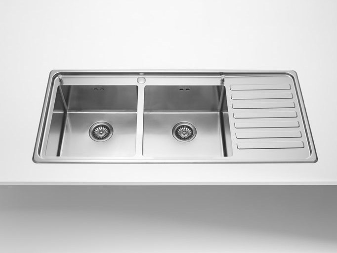 Contemporary style 2 bowl single stainless steel sink with drawer LAVELLI INCASSO RAGGIO 12 | Stainless steel sink - ALPES-INOX