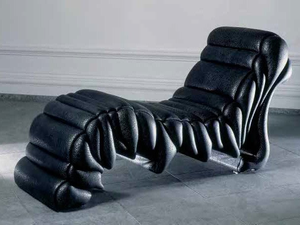 Upholstered leather lounge chair LAVICA | Lounge chair by Mirabili