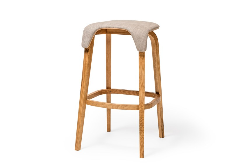 High upholstered stool with footrest LEAF | Upholstered stool - TON