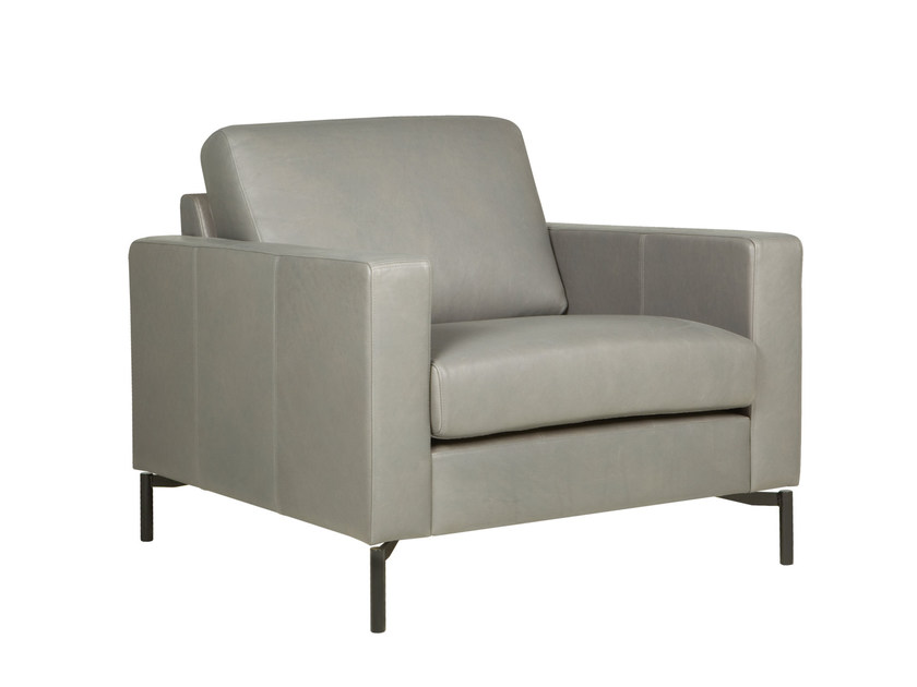 Upholstered leather armchair with armrests QUATTRO | Leather armchair - SITS