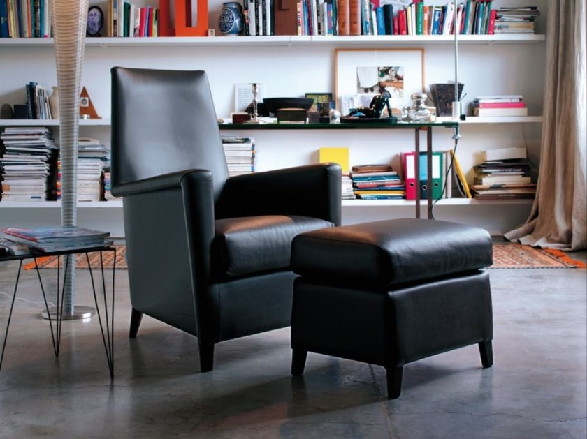 High-back leather armchair with removable cover CALVINO | Leather armchair by Verzelloni