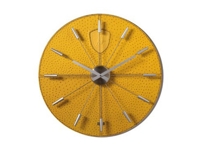 Wall-mounted ostrich leather clock TL | Clock - Tonino Lamborghini Casa by Formitalia Group