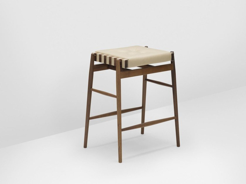 High upholstered walnut stool with footrest LEATHER   High stool - H Furniture