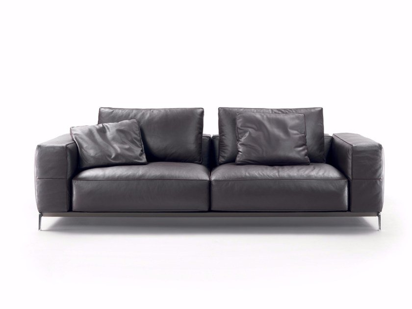 2 seater leather sofa ETTORE | Leather sofa - FLEXFORM