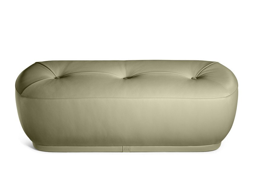 Upholstered leather bench LEPLI | Leather bench - Poltrona Frau
