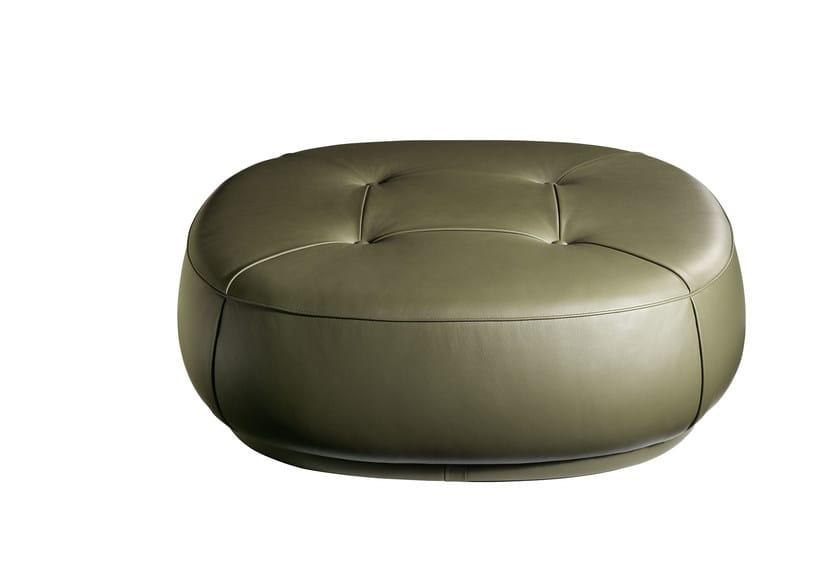Upholstered leather pouf LEPLI | Leather pouf - Poltrona Frau