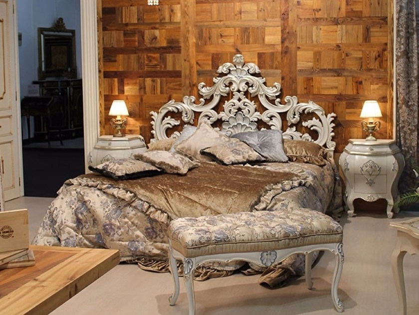 Lacquered solid wood double bed LETIZIA | Bed by Arvestyle