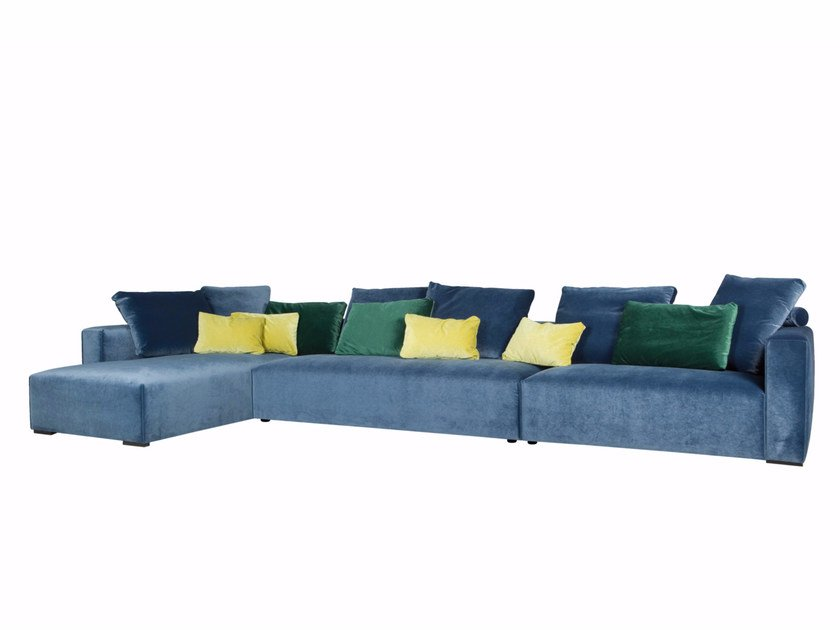Upholstered 4 seater fabric sofa with chaise longue LIAM | 4 seater sofa - SITS
