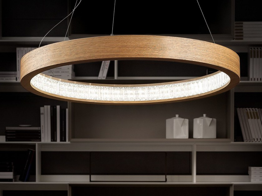 LED direct light wooden pendant lamp LIBE ROUND | Pendant lamp by Masiero
