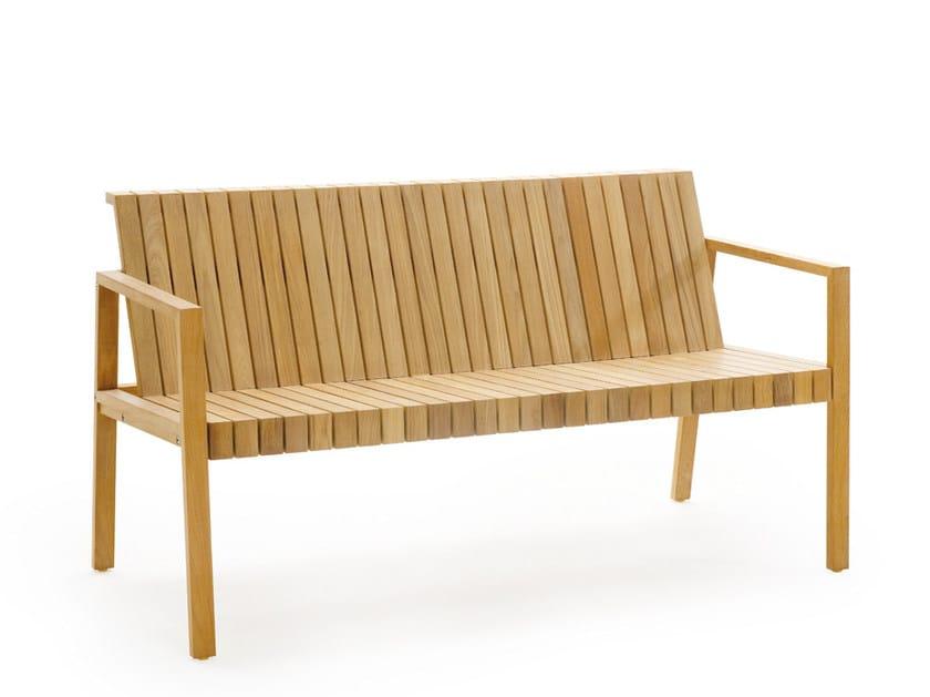 Teak garden bench with armrests LIBERTY | Garden bench with armrests - solpuri