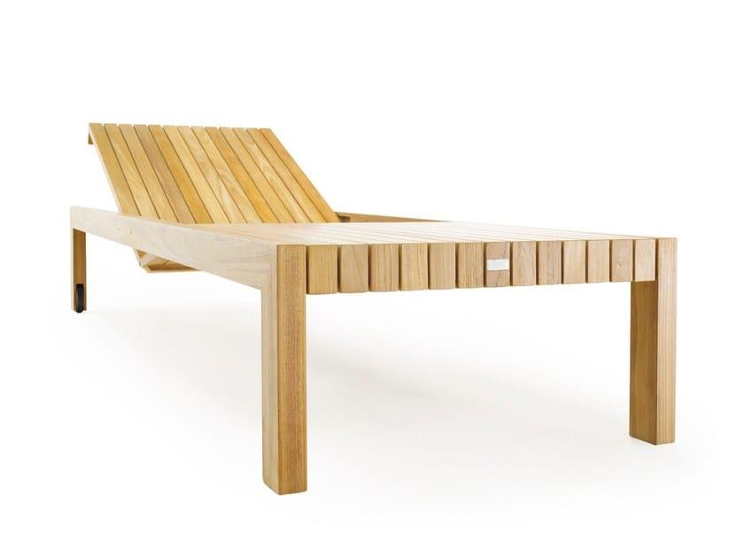 Lettino da giardino reclinabile in teak con ruote LIBERTY | Lettino da giardino - solpuri
