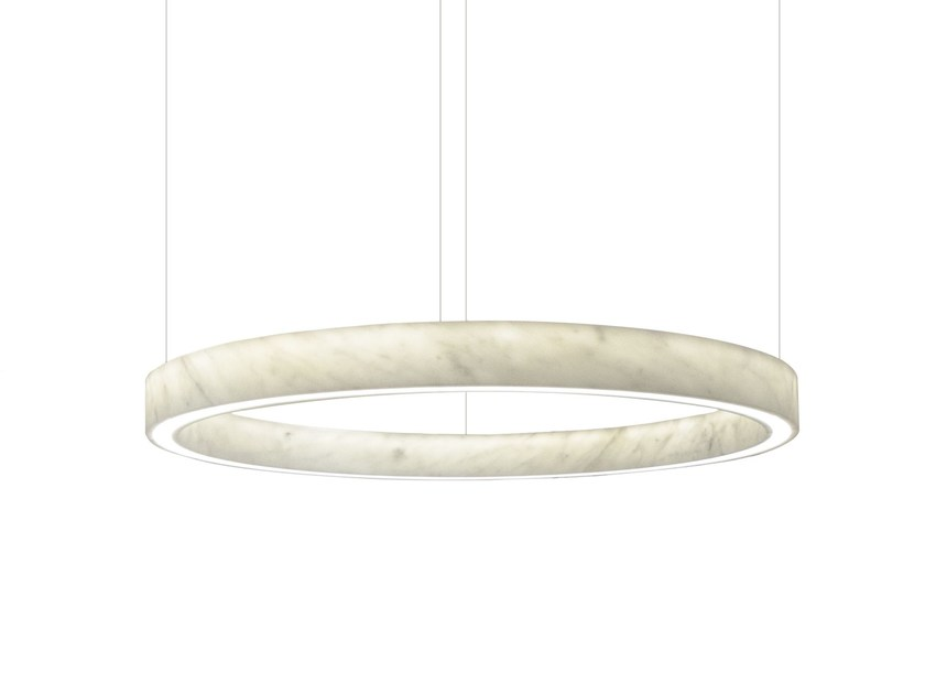 LED Carrara marble pendant lamp LIGHT BEAM CIRCLE by Inarchi