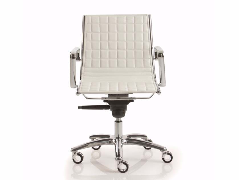 Leather reception chair with 5-spoke base LIGHT | Chair with 5-spoke base - Luxy