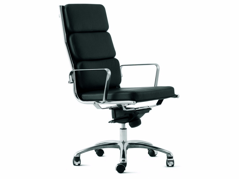 Height-adjustable leather executive chair with armrests LIGHT | Executive chair with armrests - Luxy