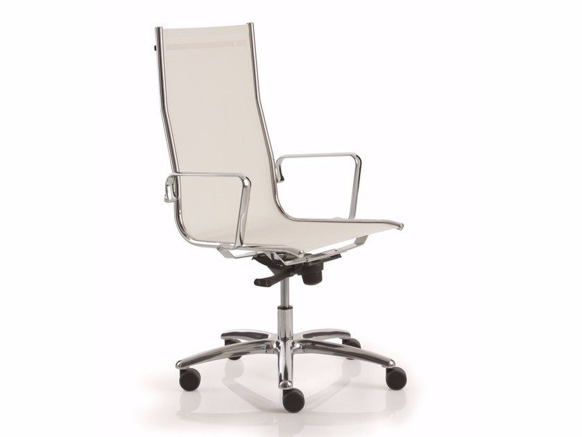High-back reception chair with 5-spoke base LIGHT | High-back chair - Luxy