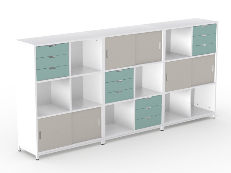 Modular office storage unit with sliding doors LIGHT | Office storage unit with sliding doors by NARBUTAS