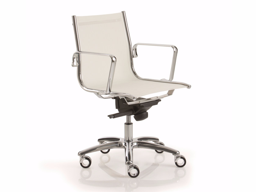 Height-adjustable reception chair with 5-spoke base LIGHT | Reception chair - Luxy