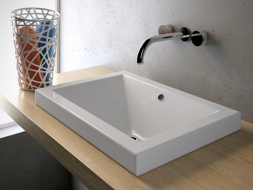 Lavabo da incasso soprapiano rettangolare in ceramica for Prezzi lavabo bagno