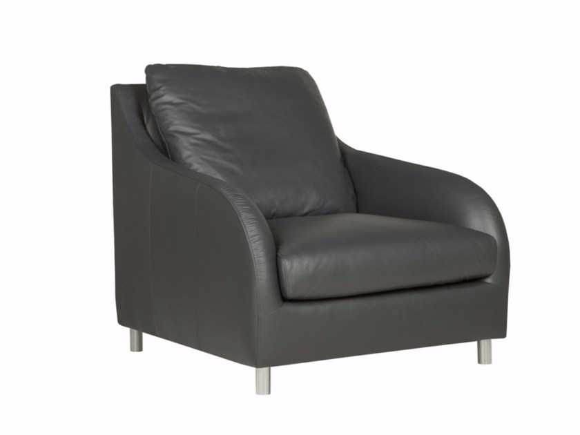 Upholstered leather armchair with armrests LILY | Armchair - SITS