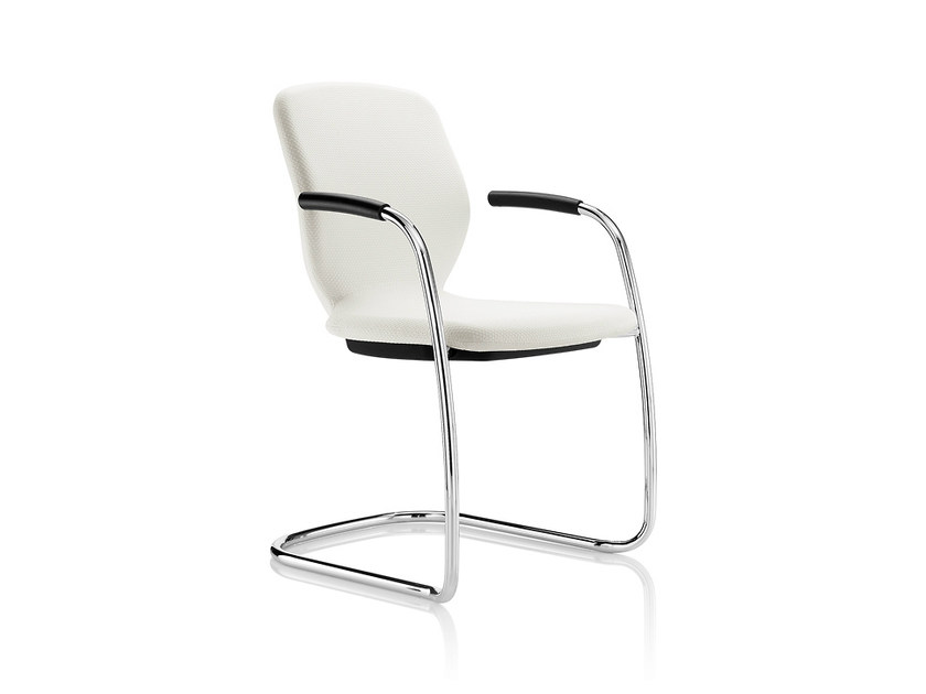 Cantilever upholstered chair with armrests LILY | Cantilever chair - Boss Design