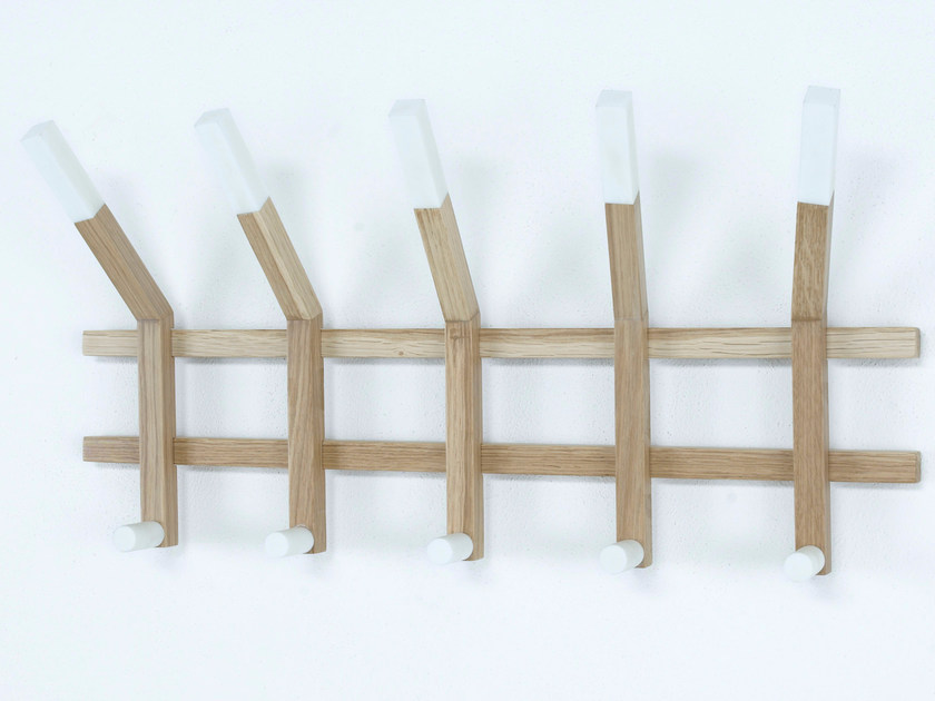 Wall-mounted oak coat rack LINEA | Wall-mounted coat rack - Paolo Castelli