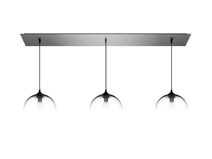 Direct light handmade blown glass pendant lamp LINEAR-3 - Niche Modern