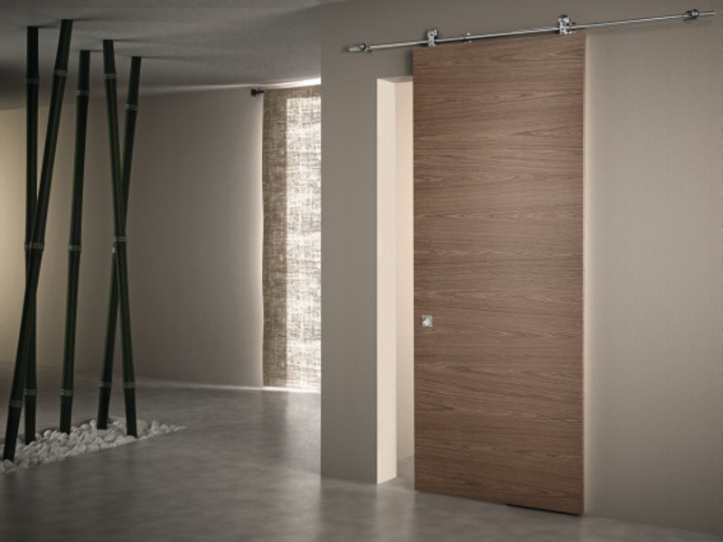Walnut sliding door without frame LINEAR - PIVATO