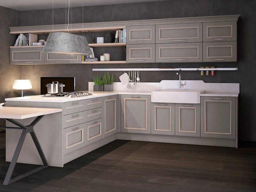 Cucina componibile laccata in legno LINEN - Cucine Lube