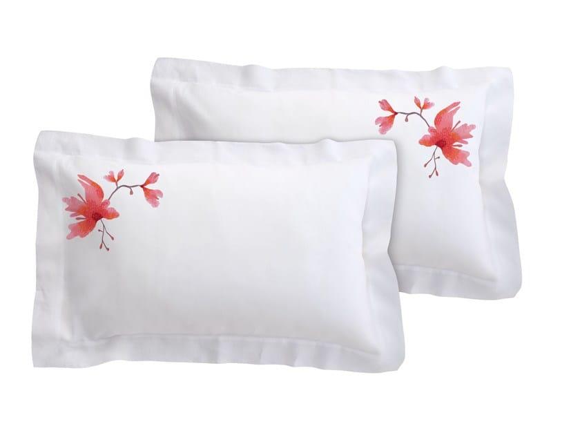 Linen pillow case set with floral pattern PEACH BLOSSOM | Linen pillow case by Sans Tabù