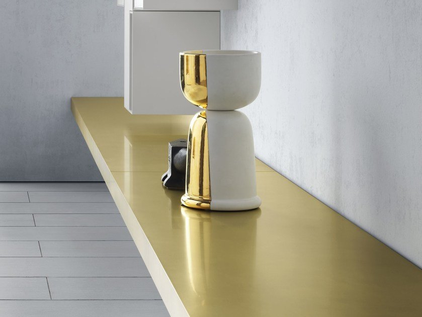 Brass wall shelf LINK 1 | Brass wall shelf - MDF Italia