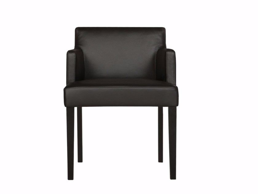 Upholstered chair with armrests LINN | Leather chair - SITS