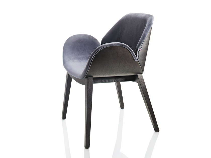 Upholstered ash chair with armrests LIPS   Chair - ALMA DESIGN
